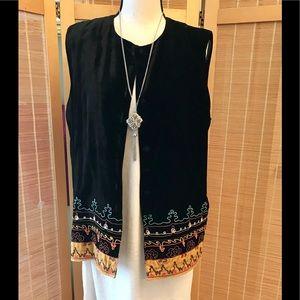 Double D Ranch black velvet Embellished vest M